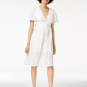 ASTR the Label Liv Eyelet Midi Dress White Large